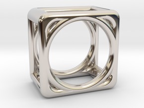 Simply Shapes Rings Cube in Rhodium Plated Brass: 3.25 / 44.625