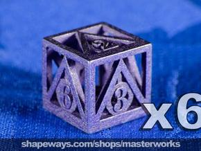 Deathly Hallows 6d6 Set in Polished Bronzed Silver Steel