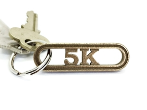 5K Keychain for Runners in Polished Bronzed Silver Steel