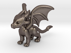 Cynder the Dragon Pendant/charm in Polished Bronzed Silver Steel