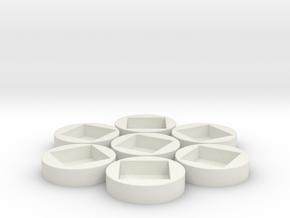 7x D6 Socket in White Natural Versatile Plastic