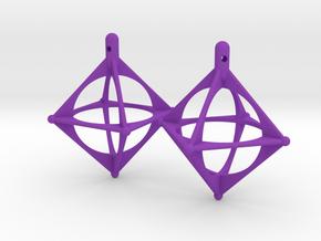 Earrings Octahedrons in Purple Processed Versatile Plastic