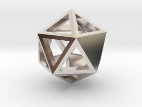 Go Geometric Pendant Icosa Open in Rhodium Plated Brass