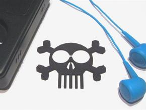 ''Skull & Bones'' Headphones Cord Manager in Black Natural Versatile Plastic