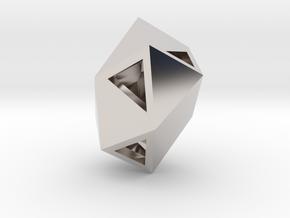Go Geometric Pendant Egg Open in Rhodium Plated Brass