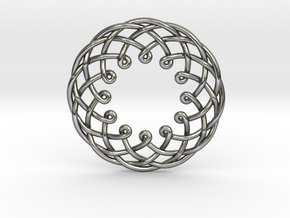 """12 Woven Pendant 1.25"""" in Polished Silver"""