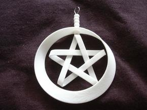 Mobius Ring and Star - Christmas Decoration - set  in White Natural Versatile Plastic
