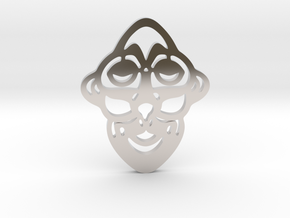 Mask Pendant in Rhodium Plated Brass