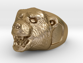 Bear Ring in Polished Gold Steel