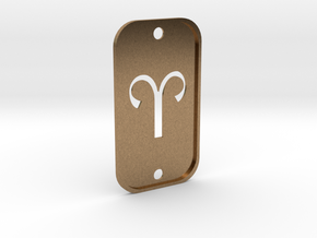 Aries (The Ram) DogTag V2 in Natural Brass