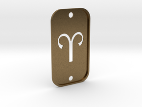 Aries (The Ram) DogTag V2 in Natural Bronze
