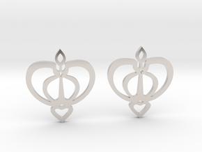Earrings with a heart motif in Rhodium Plated Brass