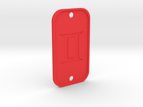 Gemini (The Twins) DogTag V4 in Red Processed Versatile Plastic