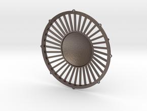 """48"""" dynamic fan grille in 1.6"""" scale in Polished Bronzed Silver Steel"""