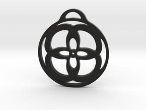 Flower in a circle Pendant  in Black Premium Versatile Plastic