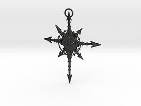 Chaos Star Necklace in Matte Black Steel