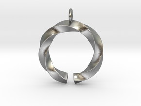 Open and twisted ring - Pendant or earrings in Natural Silver