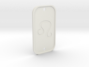 Leo  (The Lion) DogTag V4 in White Natural Versatile Plastic