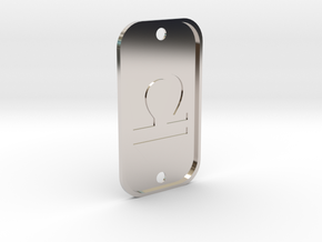 Libra (The Scales) DogTag V4 in Rhodium Plated Brass