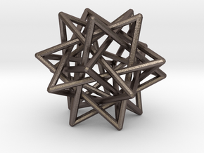 Interlaced Tetrahedrons 3 Inch x 3 Inch in Polished Bronzed Silver Steel