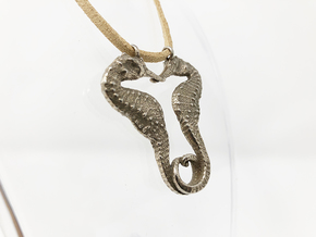 SEAHORSE pendant 4cm length in Polished Bronzed Silver Steel