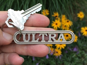 Ultra Marathon Gift Keychain  in Polished Bronzed Silver Steel
