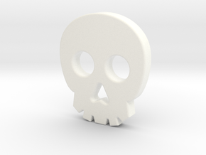 Skull Button in White Processed Versatile Plastic