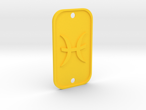 Pisces (The Fish) DogTag V1 in Yellow Strong & Flexible Polished