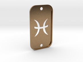 Pisces (The Fish) DogTag V2 in Natural Brass