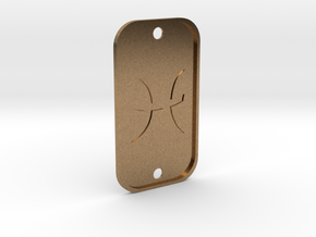 Pisces (The Fish) DogTag V4 in Natural Brass