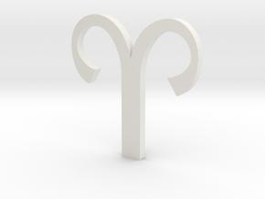Aries (The Ram) Symbol  in White Natural Versatile Plastic