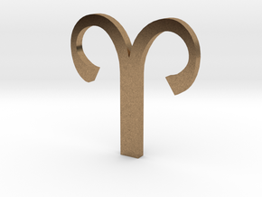 Aries (The Ram) Symbol  in Natural Brass