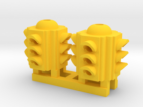 Traffic Light 4 Way Body (Qty 2) - HO 87:1 Scale in Yellow Processed Versatile Plastic