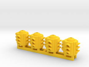 Traffic Light 4 Way Body (Qty 4) - HO 87:1 Scale in Yellow Processed Versatile Plastic