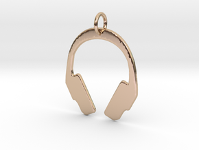 Headphones Precious Metal Pendant in 14k Rose Gold Plated Brass
