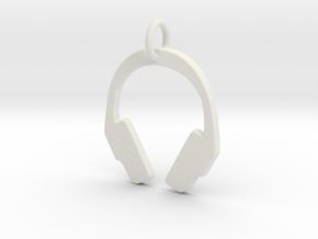 Headphones Pendant in White Natural Versatile Plastic