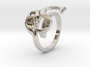 Saint Snow Twin Ring - Sarah Kazuno in Rhodium Plated Brass: 4 / 46.5