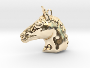 Horse head pendant in 14k Gold Plated Brass