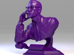 5 Inch miniature hand sculpted bust of Malcolm X in Purple Processed Versatile Plastic
