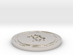 Bitcoin Themed Coaster in Rhodium Plated Brass