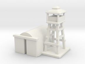 1/285 Airport Tower w/ Hanger in White Natural Versatile Plastic