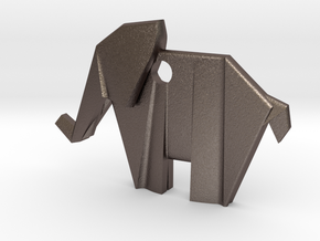 Origami elephant emphasis in Polished Bronzed Silver Steel