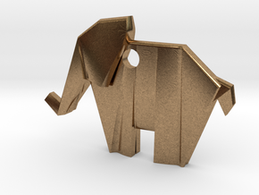 Origami elephant emphasis in Natural Brass