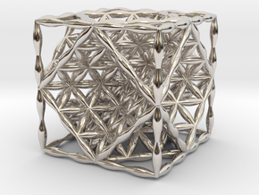 """Flower of Life Hexahedron 1"""" (Cube)  in Rhodium Plated Brass"""