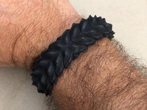 Hard Shred Cuff bracelet   Narrow  in Black PA12: Small
