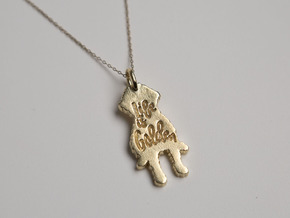 Goldendoodle Pendant in Natural Brass
