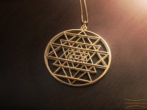 2.5D Sri-Yantra 4.5cm (Raw Metals) in Natural Brass