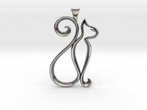 The Cat Necklace in Fine Detail Polished Silver