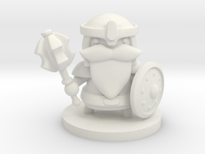 Dwarf Fighter in White Natural Versatile Plastic