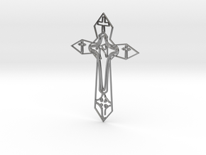 Personalised Cross Artwork in Fine Detail Polished Silver